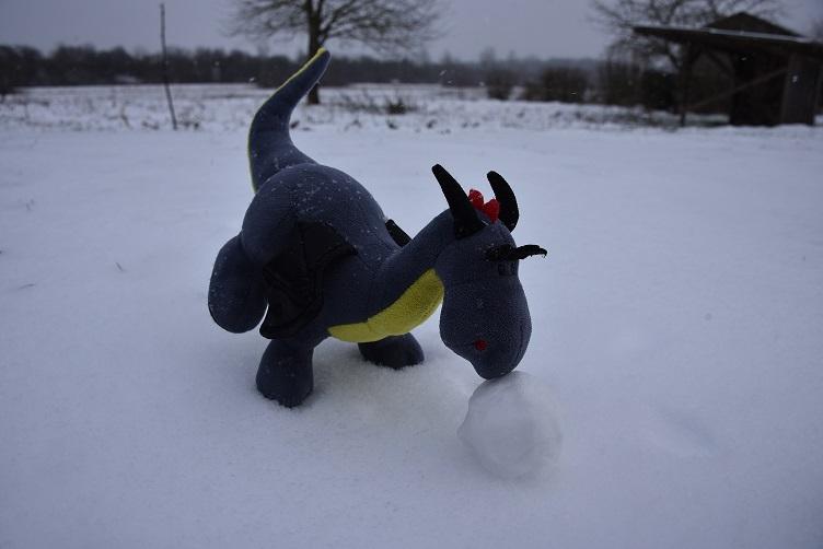 Luna rollt eine Schneekugel