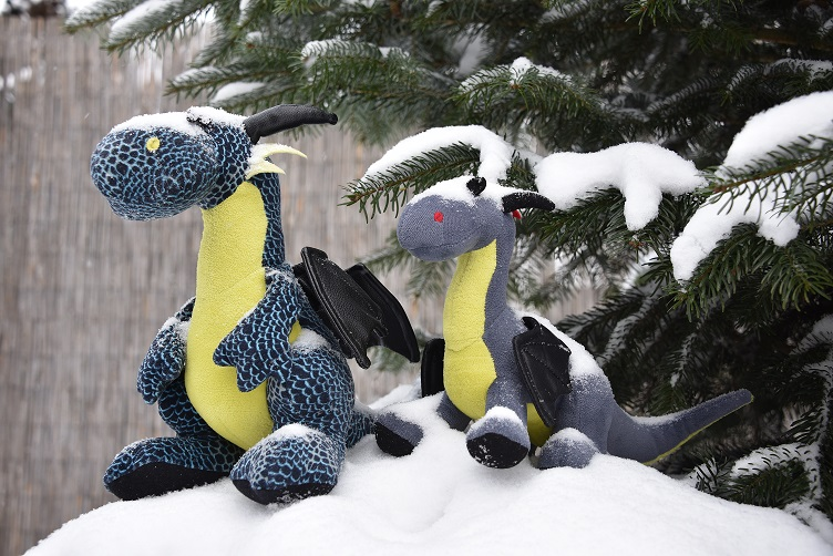 Kiwii und Luna mit Schnee bedeckt