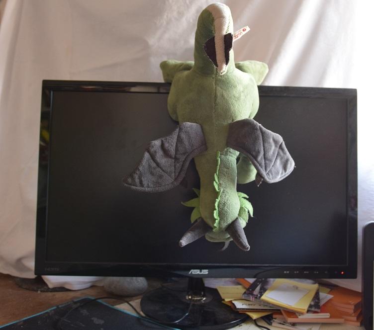 Päffchen hängt vor dem Bildschirm