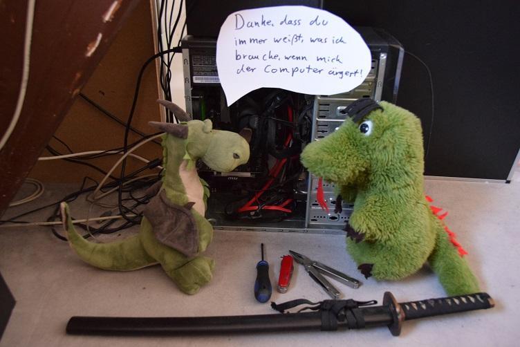 Päffchen bedankt sich bei Fauchi für die Unterstützung bei PC-Problemen