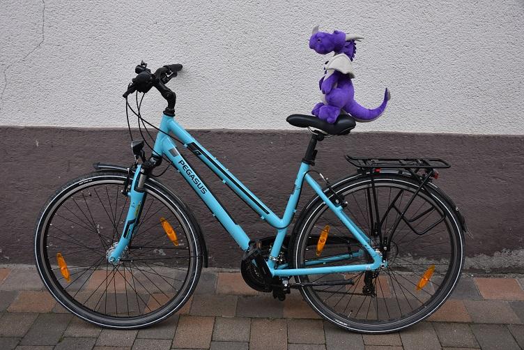 Violetta probiert das Fahrrad aus