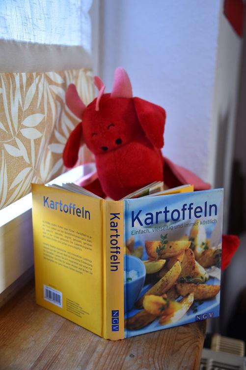 Rosa liest Kartoffel-Kochbuch