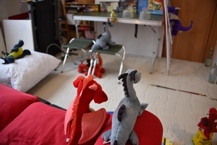 Rosa und Saphira beaufsichtigen die trainierenden Drachis