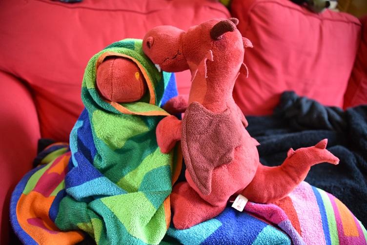 Ruby hat Chilli in ein Handtuch gewickelt