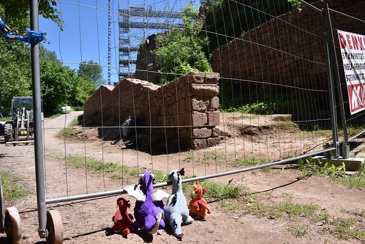 Die Drachis stehen vor dem Baustellenzaun, der die Wegelnburg umgibt