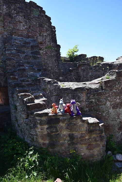 Drachenrast auf der Burgmauer