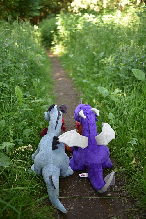 Drachis wandern einen schmalen Pfad entlang