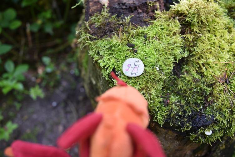 Paffina schaut den bemalten Stein an