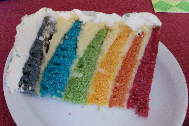 Regenbogen-Tortenstück