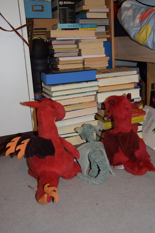 Ivy, Chilli und Ruby sitzen vor einem Bücherstapel